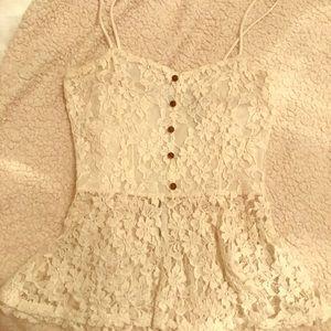 White peplum lace tank top